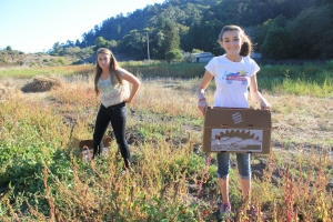 "Project Abundance ""teen glean"" volunteers Brie Hatfield and Haley Pavone"