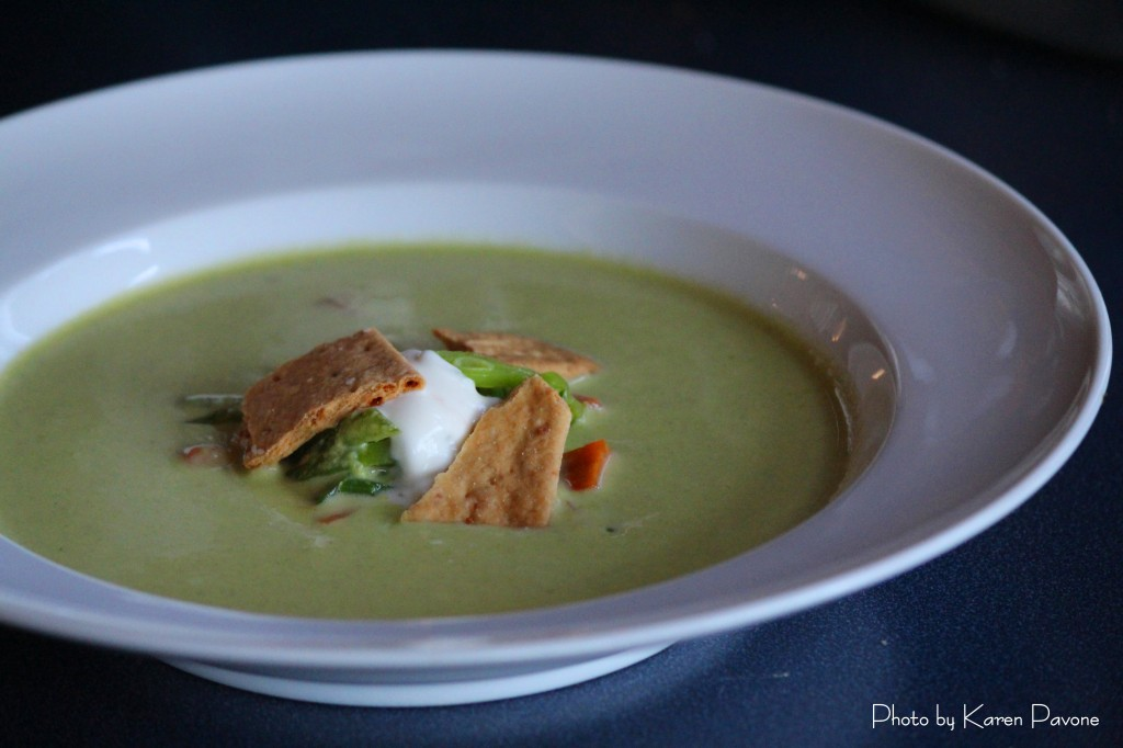 Fresh Spring Pea Soup with Meyer Lemon Cream and Vella Jack Crackers