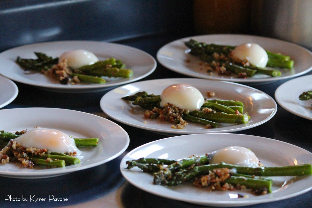 Grilled Delta Asparagus Salad with Marin Sun Farms bacon & Hands Full Farm eggs