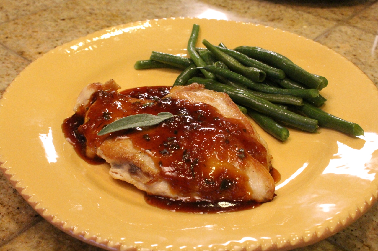 Pan Seared Chicken Breast with Apricot-Sage Sauce