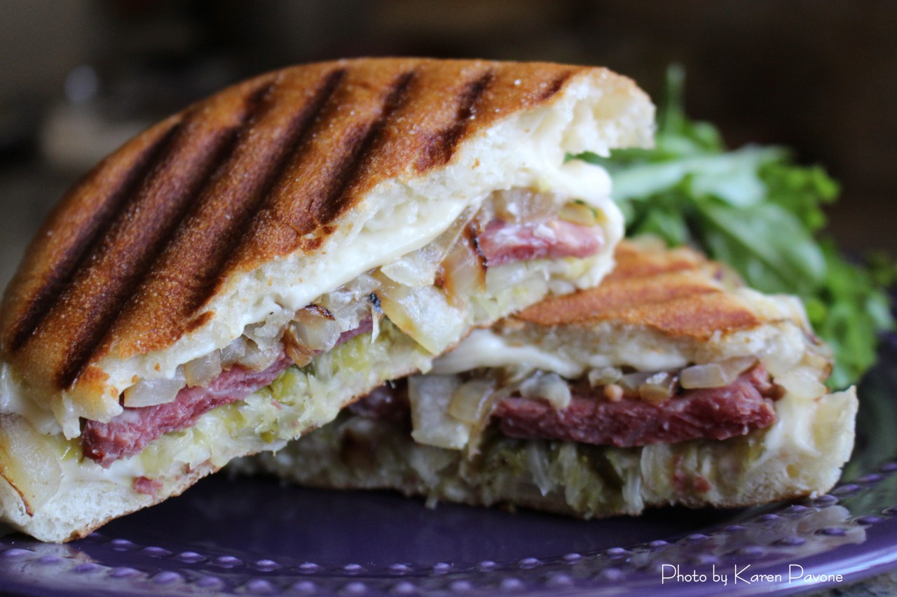 Corned Beef & Sauerkraut Panini for St. Patrick's Day
