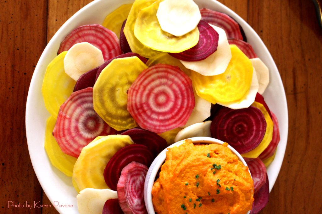 Roasted Carrot Hummus with Vegetable Chips