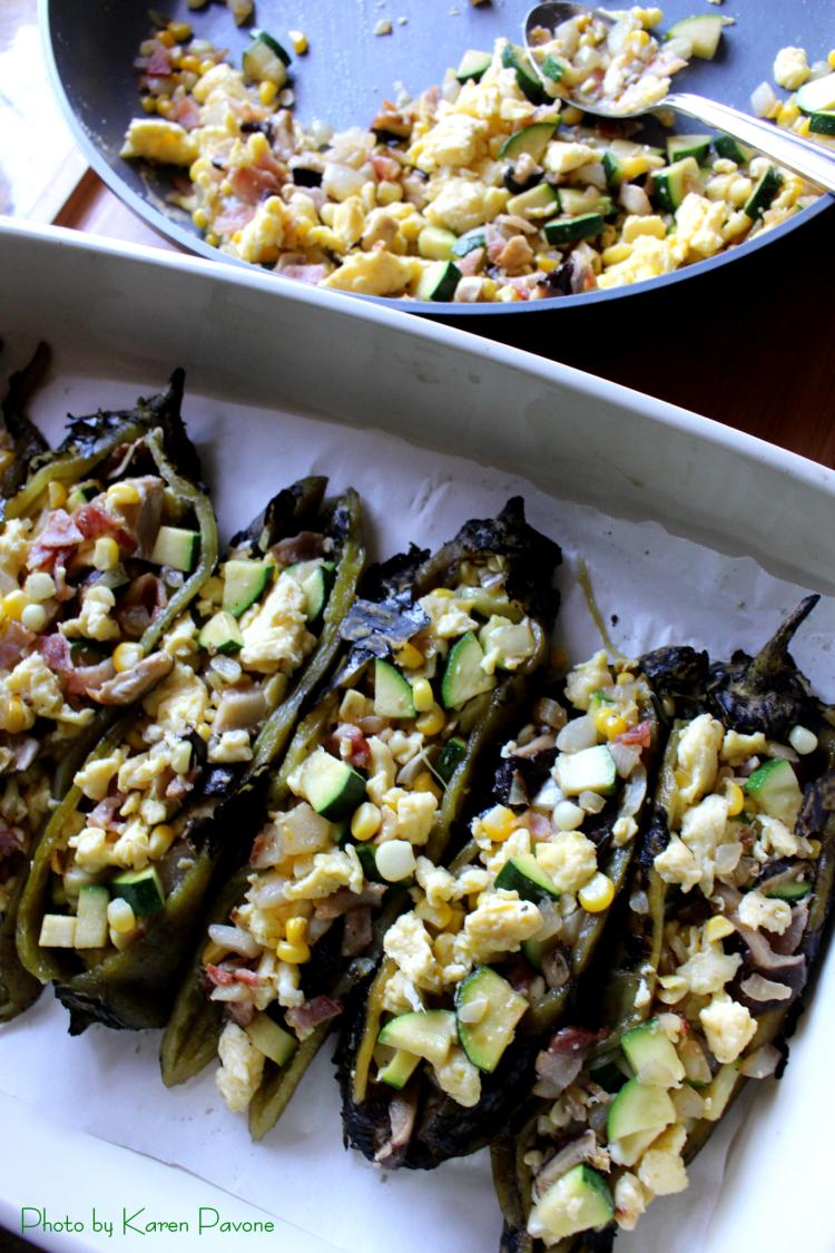 Stuffed Hatch Chilies with Scrambled Eggs & Bacon-Veggie Hash