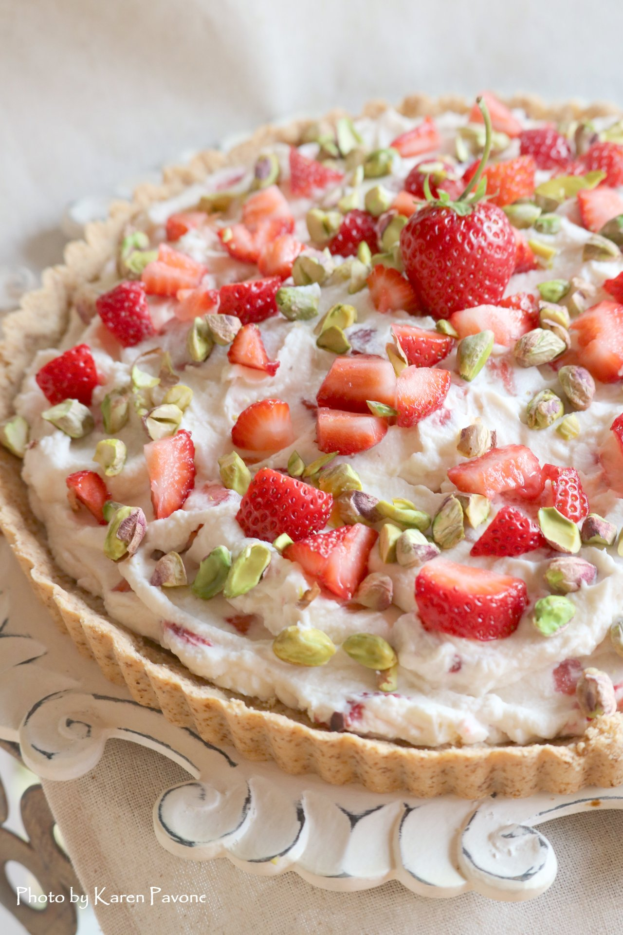 In Season: Gluten-Free Strawberry Mascarpone Cream Tart with Pistachios