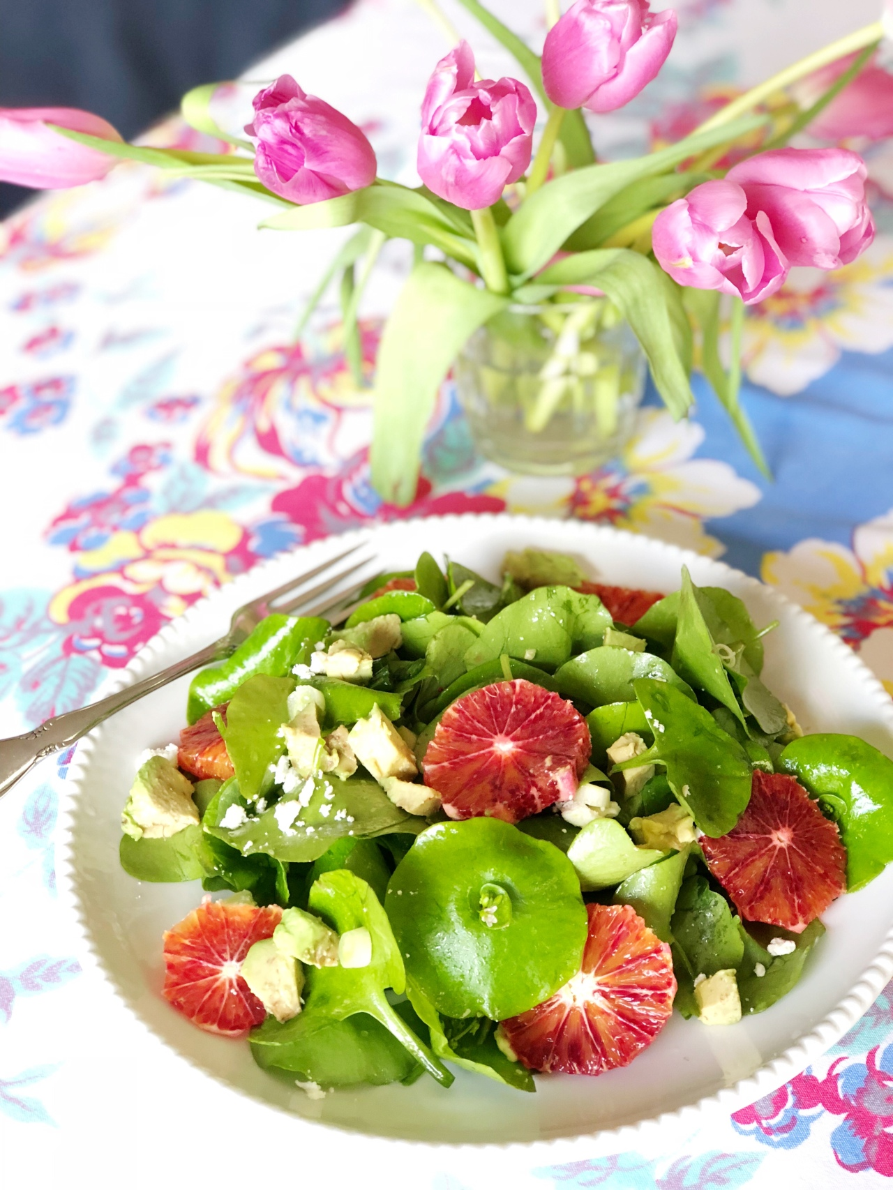 Foraged Feast: Miner's Lettuce Salad with Blood Oranges, Avocado, Mint & Feta