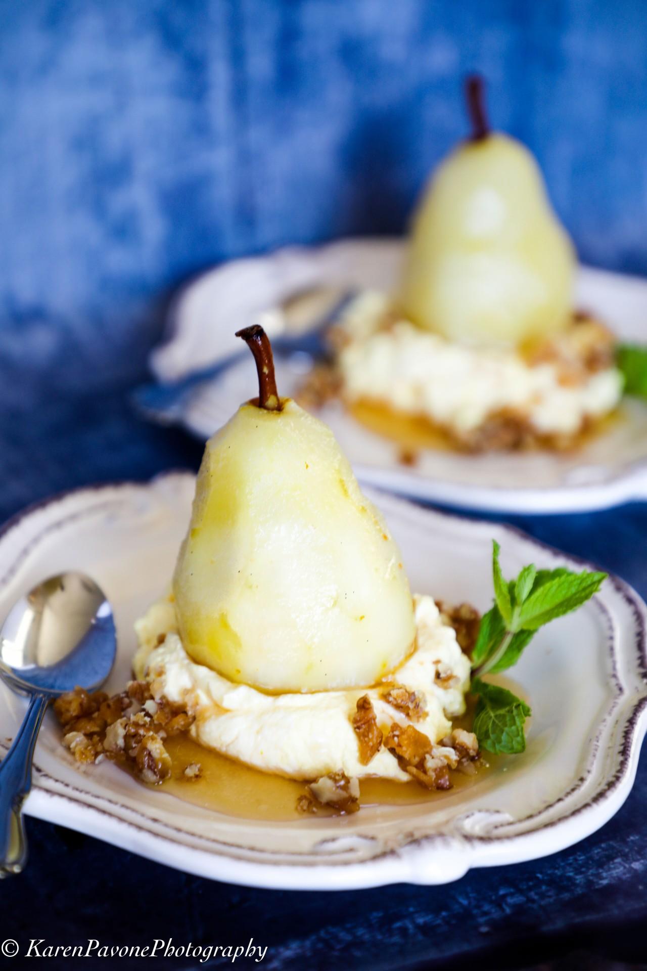 Sauvignon Poached Pears with Saffron Cream & CandiedWalnuts
